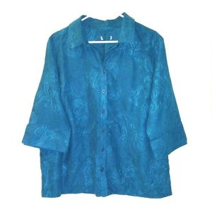 Apt 9 teal blue top paisley embroidery suede Plus